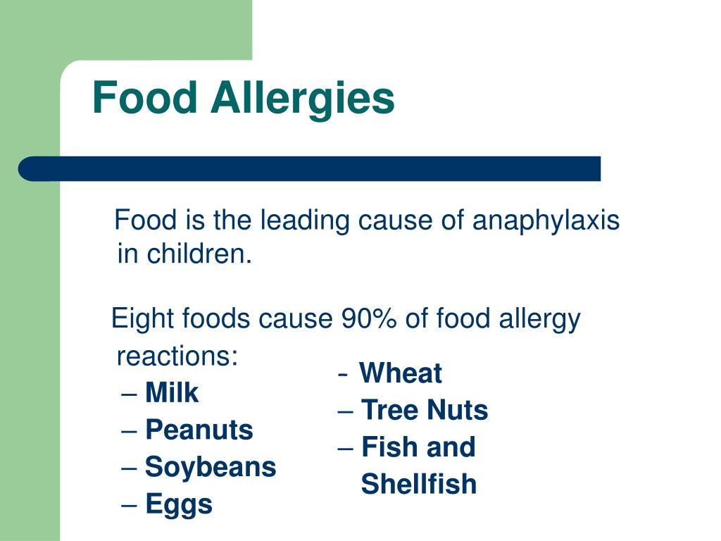 Eight foods cause 90% of food allergy