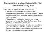 implications of modeled groundwater flow direction in coburg area