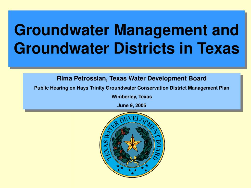 groundwater management and groundwater districts in texas l.