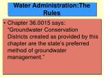 water administration the rules