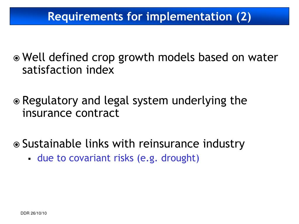 Requirements for implementation (2)