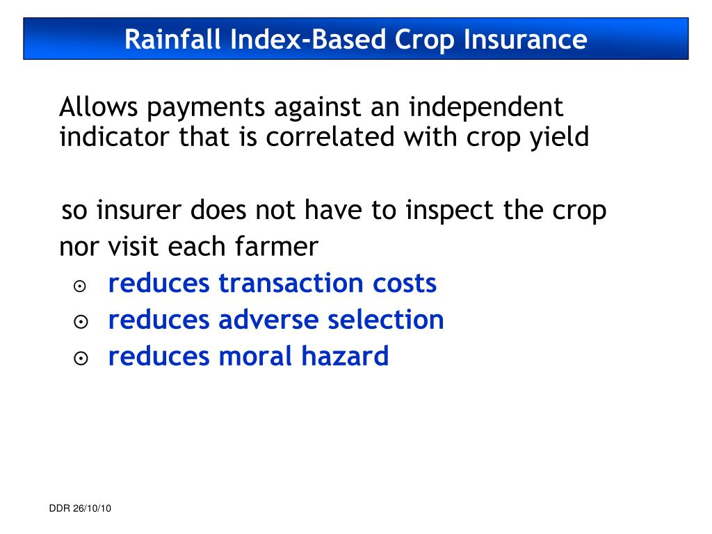Rainfall Index-Based Crop Insurance