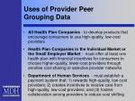 uses of provider peer grouping data1