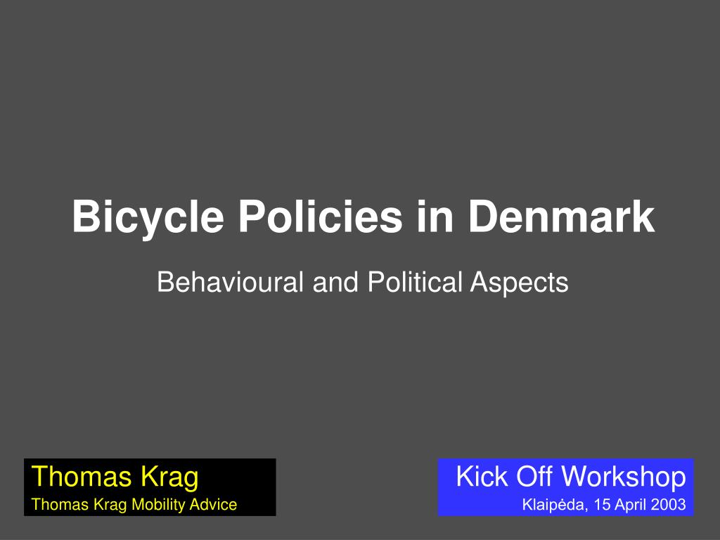 bicycle policies in denmark behavioural and political aspects l.