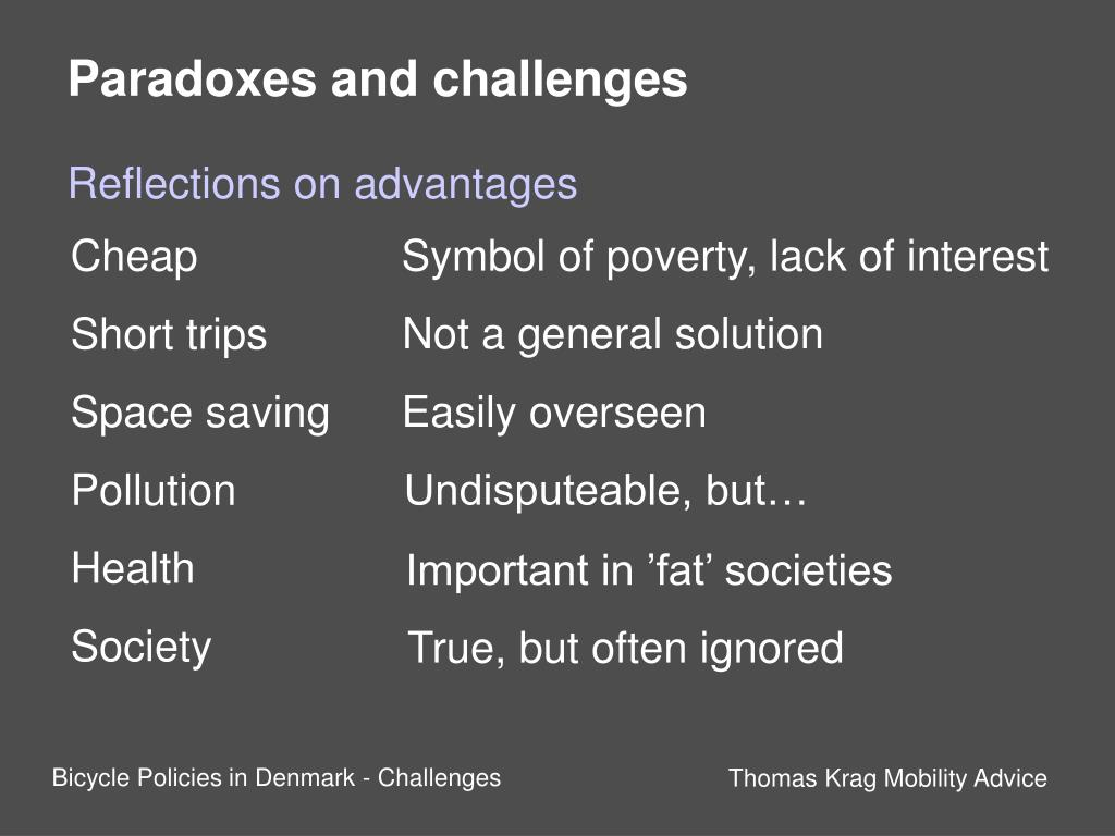 Paradoxes and challenges