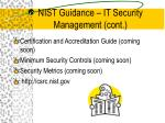 nist guidance it security management cont