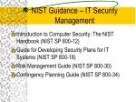 nist guidance it security management