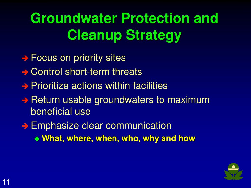 Groundwater Protection and Cleanup Strategy