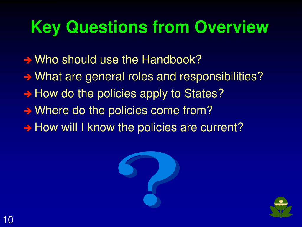 Key Questions from Overview