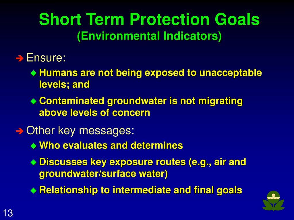 Short Term Protection Goals