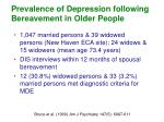 prevalence of depression following bereavement in older people