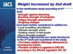 weight increment by 2nd draft