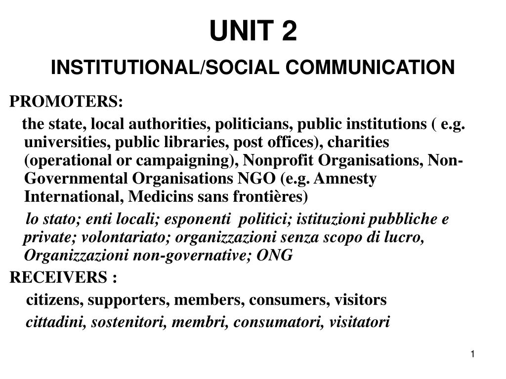 unit 2 institutional social communication l.