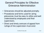 general principles for effective grievance administration