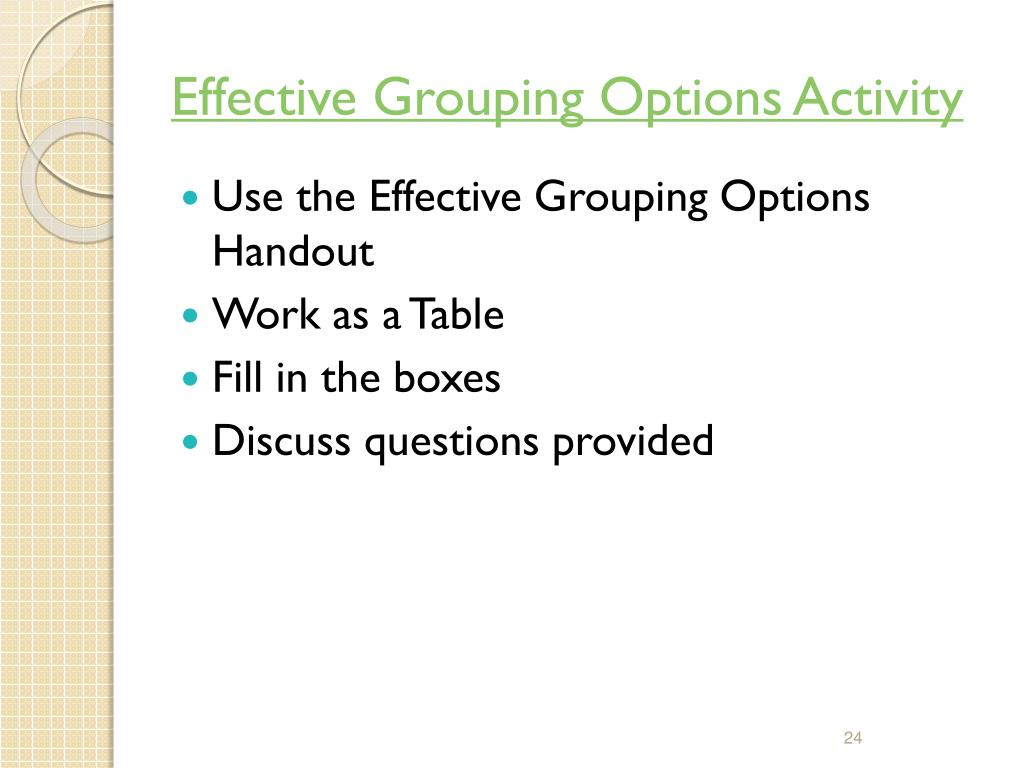 Effective Grouping Options Activity