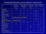 comparing domains across generic instruments