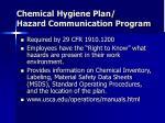 chemical hygiene plan hazard communication program