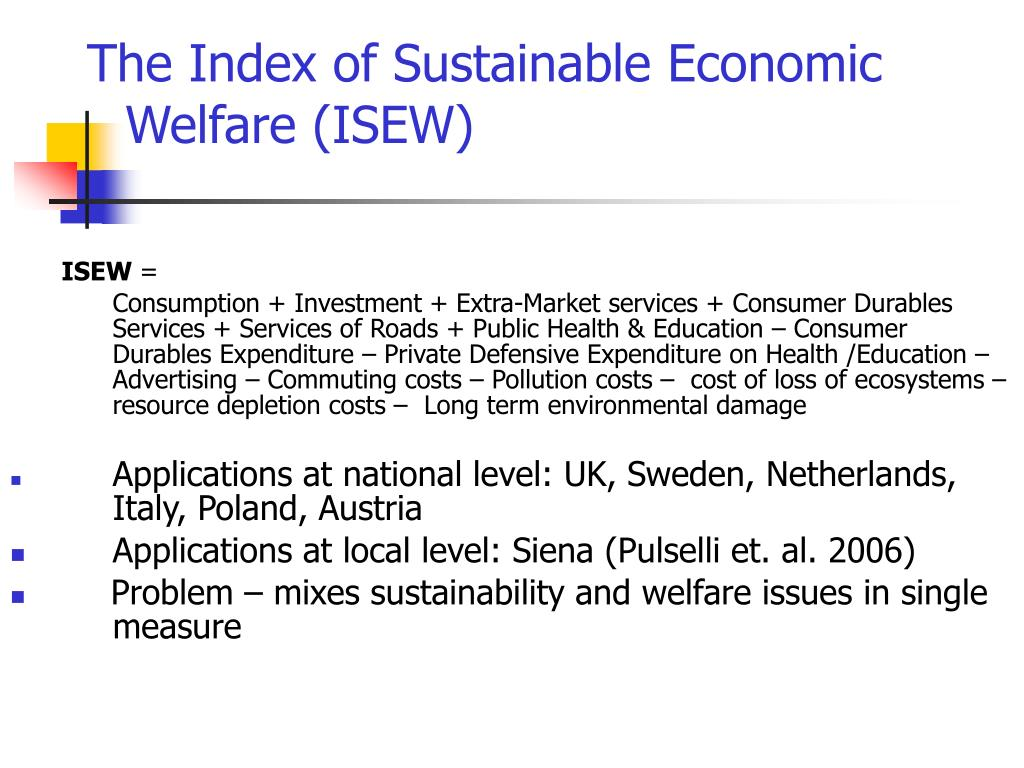 The Index of Sustainable Economic Welfare (ISEW)