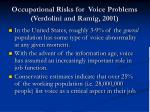occupational risks for voice problems verdolini and ramig 2001