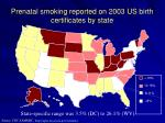prenatal smoking reported on 2003 us birth certificates by state