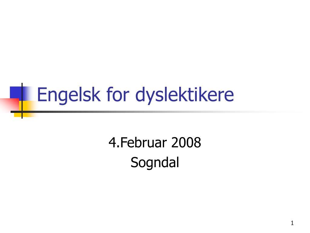 engelsk for dyslektikere l.