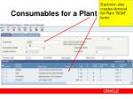 consumables for a plant