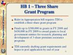 hb 1 three share grant program