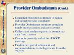 provider ombudsman cont