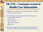 sb 1731 consumer access to health care information