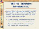 sb 1731 insurance provisions cont