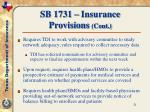 sb 1731 insurance provisions cont21