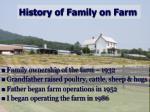 history of family on farm