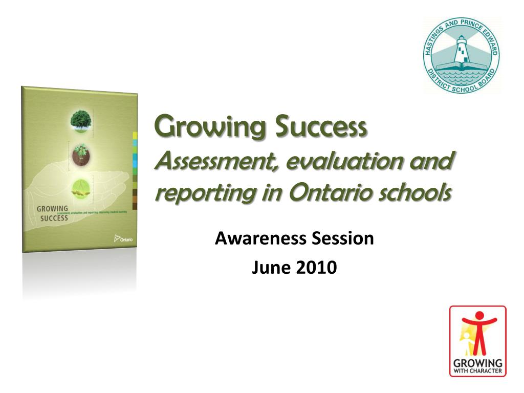 growing success assessment evaluation and reporting in ontario schools l.