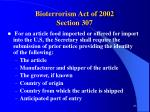 bioterrorism act of 2002 section 307