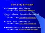 fda lead personnel