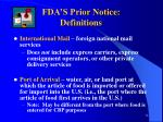 fda s prior notice definitions