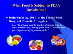 what food is subject to fda s jurisdiction