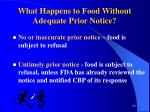 what happens to food without adequate prior notice