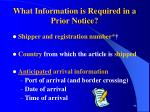 what information is required in a prior notice98