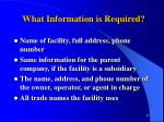 what information is required