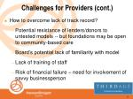 challenges for providers cont