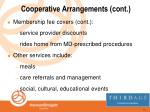 cooperative arrangements cont