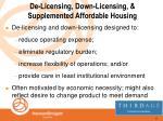 de licensing down licensing supplemented affordable housing