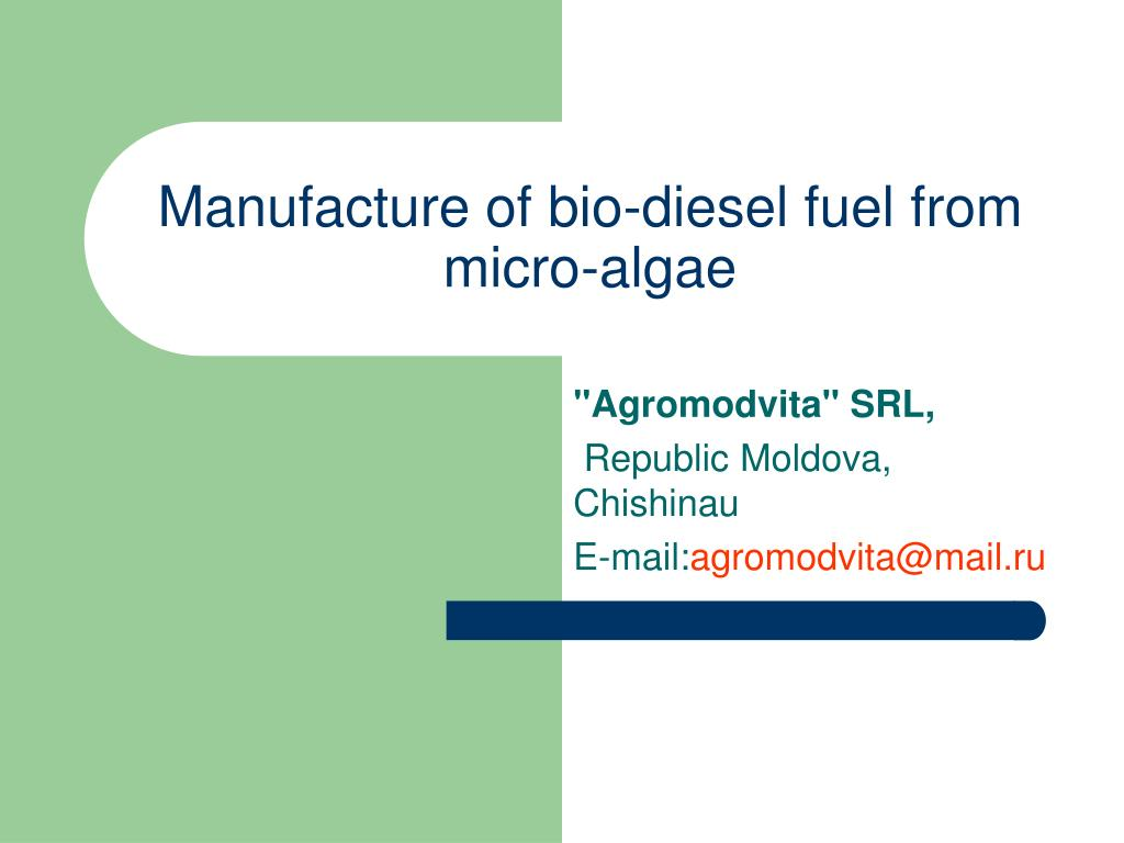 manufacture of bio diesel fuel from micro algae l.