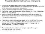 k la constante thermodynamique mergeante