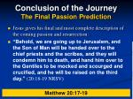 conclusion of the journey the final passion prediction