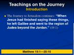 teachings on the journey introduction