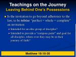 teachings on the journey leaving behind one s possessions21