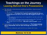 teachings on the journey leaving behind one s possessions22
