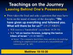 teachings on the journey leaving behind one s possessions23